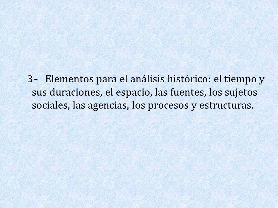 3- Elementos para el análisis histórico: el tiempo y sus duraciones, el espacio, las fuentes, los sujetos sociales, las agencias, los procesos y estru