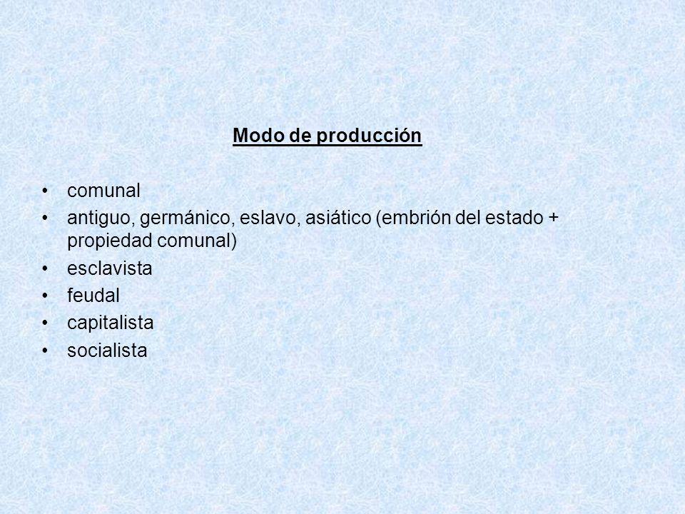 Modo de producción comunal antiguo, germánico, eslavo, asiático (embrión del estado + propiedad comunal) esclavista feudal capitalista socialista