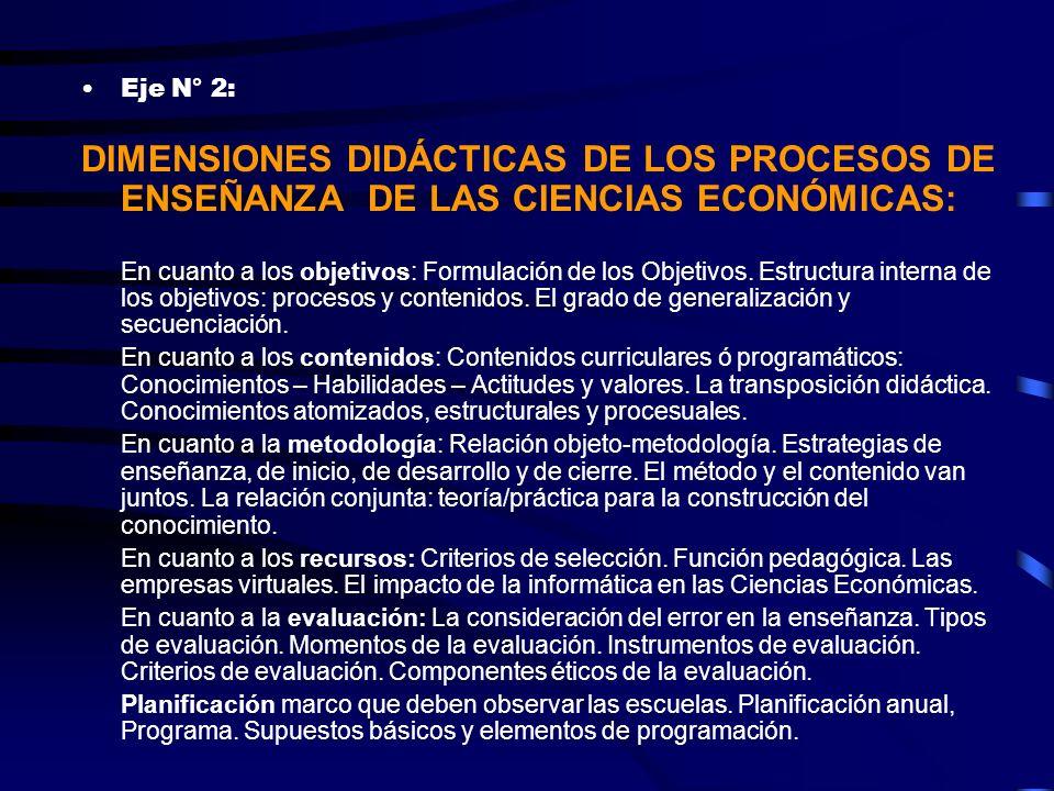 Eje N° 2: DIMENSIONES DIDÁCTICAS DE LOS PROCESOS DE ENSEÑANZA DE LAS CIENCIAS ECONÓMICAS: En cuanto a los objetivos: Formulación de los Objetivos. Est