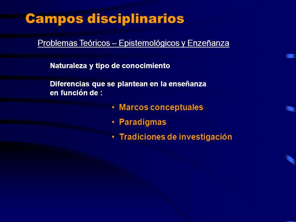 Campos disciplinarios Problemas Teóricos – Epistemológicos y Enzeñanza Naturaleza y tipo de conocimiento Diferencias que se plantean en la enseñanza e