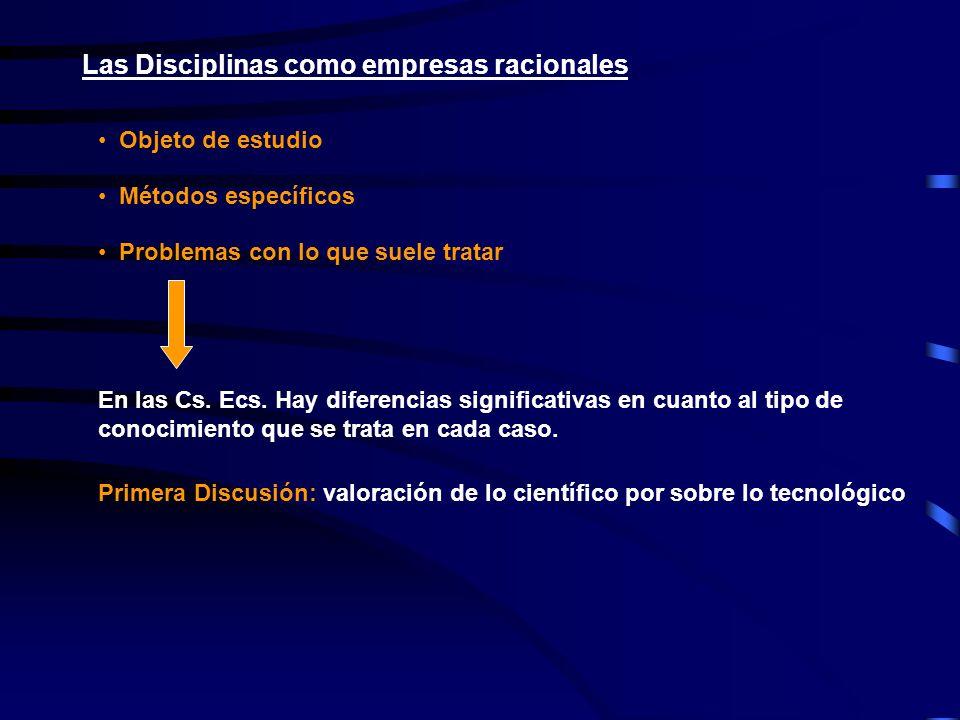 Las Disciplinas como empresas racionales Objeto de estudio Métodos específicos Problemas con lo que suele tratar En las Cs. Ecs. Hay diferencias signi