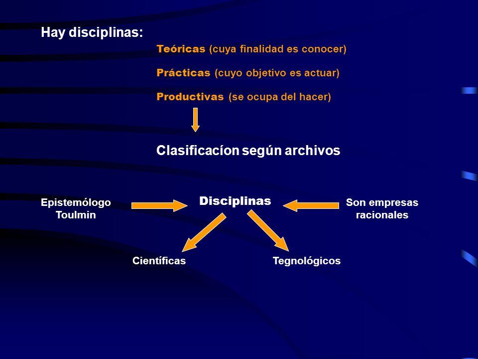 Hay disciplinas: Teóricas (cuya finalidad es conocer) Prácticas (cuyo objetivo es actuar) Productivas (se ocupa del hacer) Clasificacíon según archivo