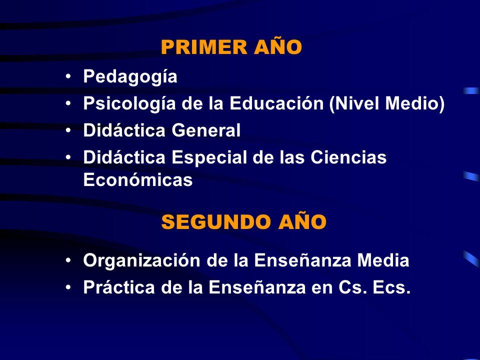 Pedagogía Psicología de la Educación (Nivel Medio) Didáctica General Didáctica Especial de las Ciencias Económicas Organización de la Enseñanza Media