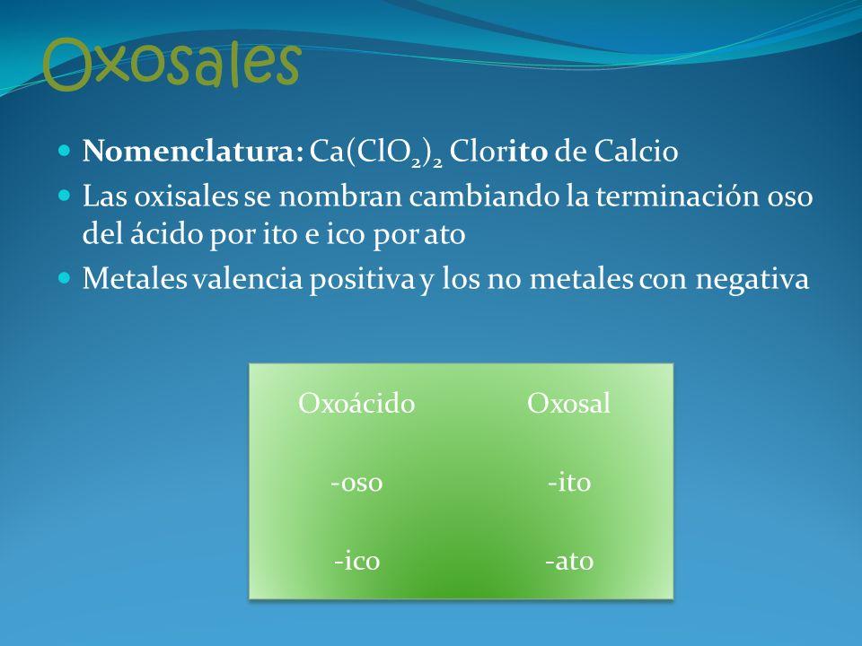Oxosales Nomenclatura: Ca(ClO 2 ) 2 Clorito de Calcio Las oxisales se nombran cambiando la terminación oso del ácido por ito e ico por ato Metales valencia positiva y los no metales con negativa