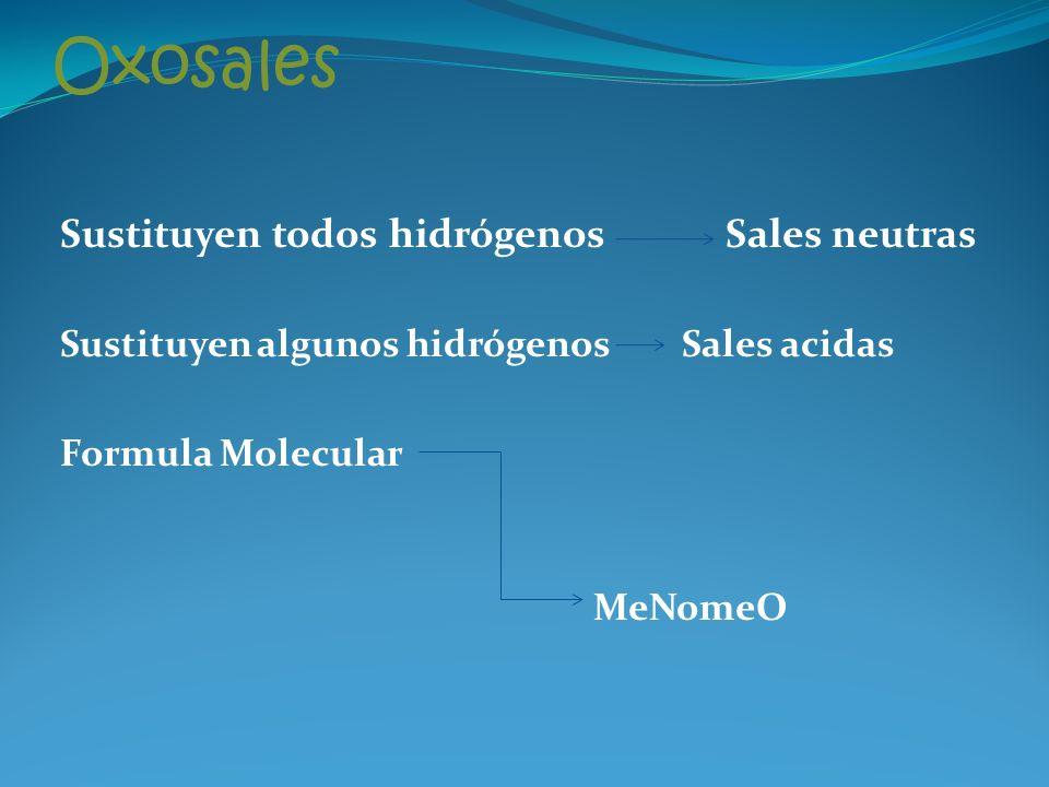 Oxosales Sustituyen todos hidrógenos Sales neutras Sustituyen algunos hidrógenos Sales acidas Formula Molecular MeNomeO