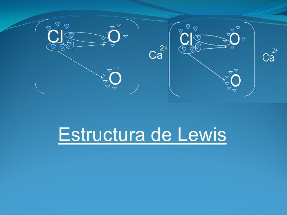 Cl O O Ca 2+ Estructura de Lewis