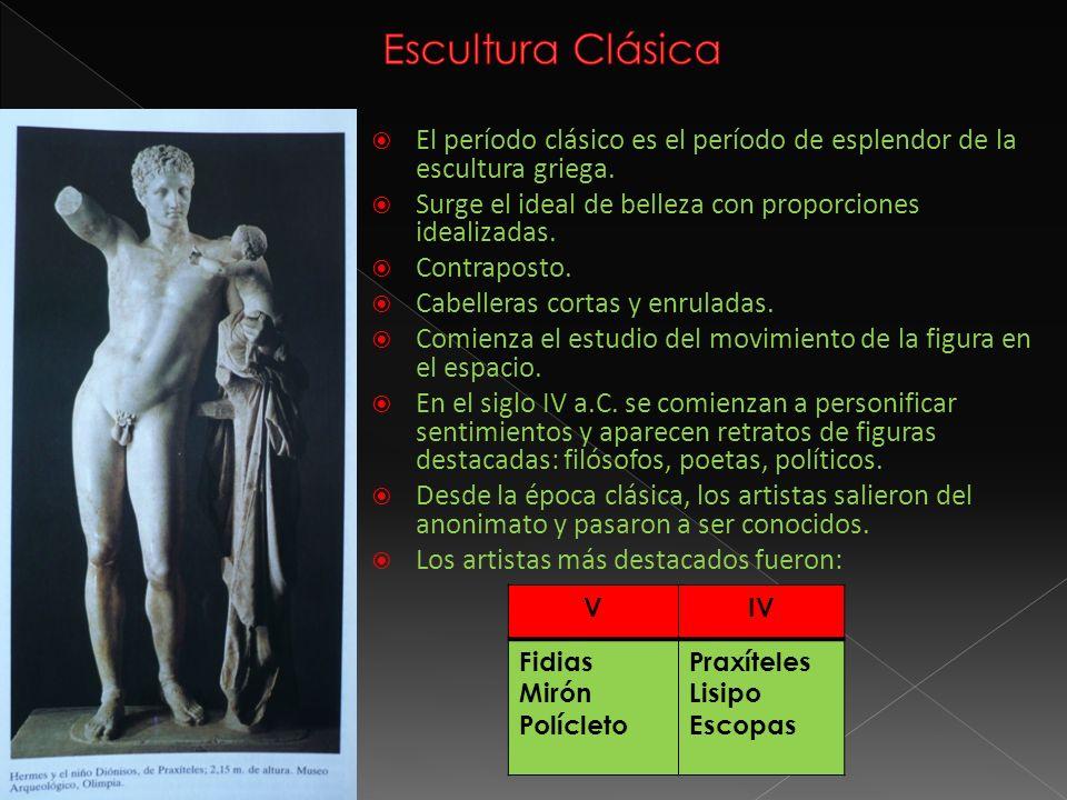 El período clásico es el período de esplendor de la escultura griega. Surge el ideal de belleza con proporciones idealizadas. Contraposto. Cabelleras