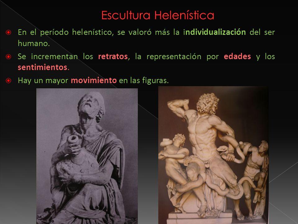 En el período helenístico, se valoró más la individualización del ser humano. Se incrementan los retratos, la representación por edades y los sentimie
