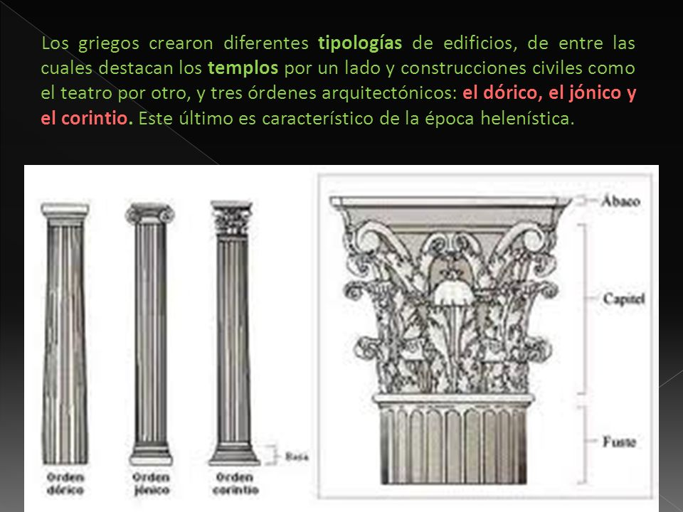 Los griegos crearon diferentes tipologías de edificios, de entre las cuales destacan los templos por un lado y construcciones civiles como el teatro p