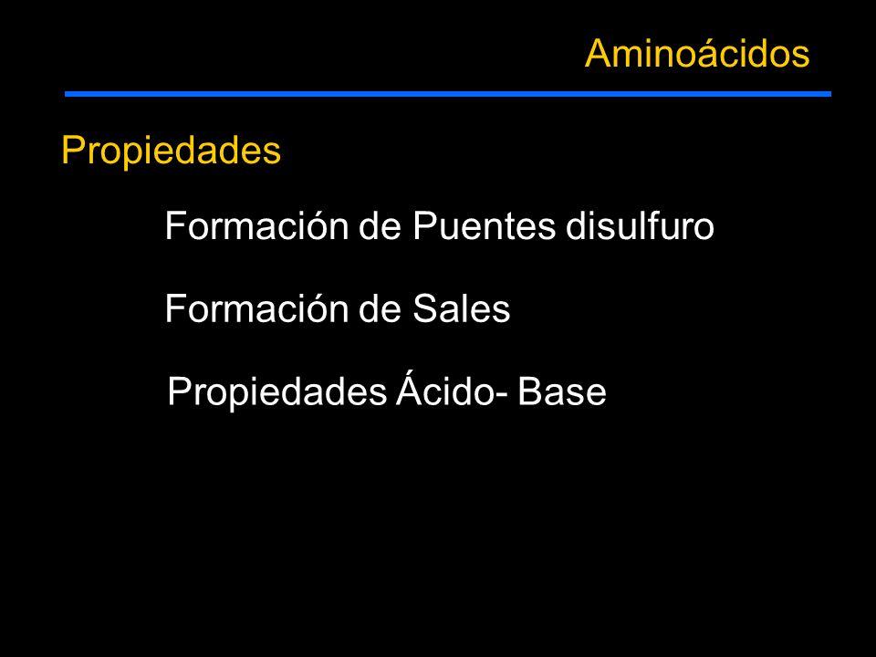 Propiedades Aminoácidos Formación de Puentes disulfuro Formación de Sales Propiedades Ácido- Base