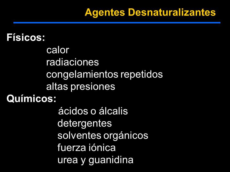 Físicos: calor radiaciones congelamientos repetidos altas presiones Químicos: ácidos o álcalis detergentes solventes orgánicos fuerza iónica urea y gu