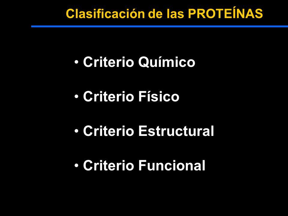 Clasificación de las PROTEÍNAS Criterio Químico Criterio Físico Criterio Estructural Criterio Funcional