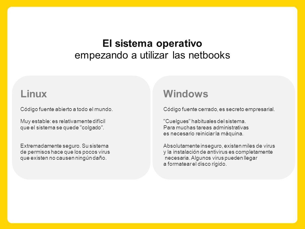 El sistema operativo empezando a utilizar las netbooks Linux Código fuente abierto a todo el mundo.
