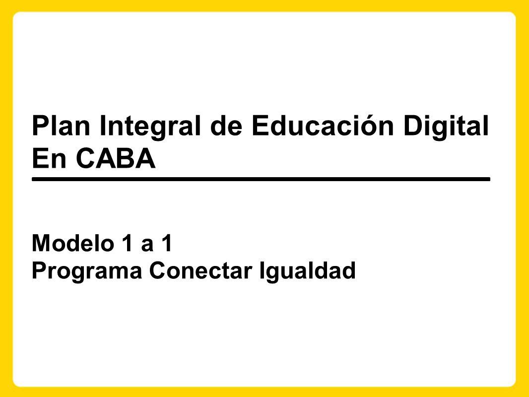 Modelo 1 a 1 Programa Conectar Igualdad Plan Integral de Educación Digital En CABA