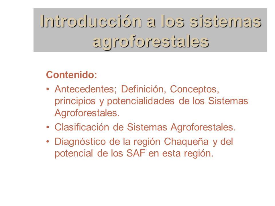 Introducción a los sistemas agroforestales Contenido: Antecedentes; Definición, Conceptos, principios y potencialidades de los Sistemas Agroforestales