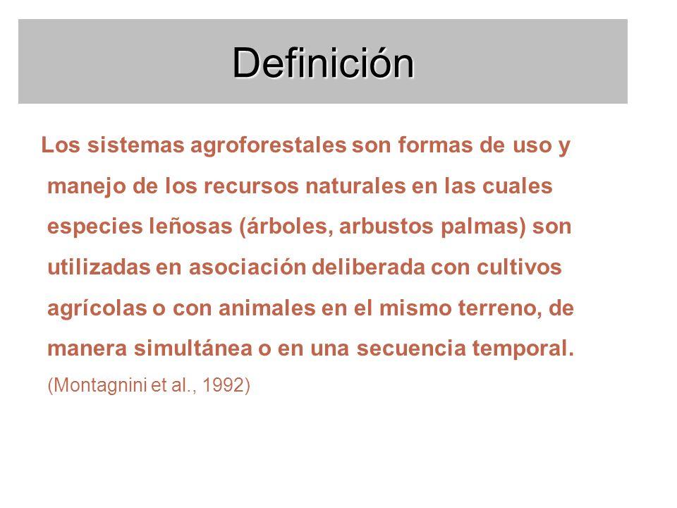 Definición Los sistemas agroforestales son formas de uso y manejo de los recursos naturales en las cuales especies leñosas (árboles, arbustos palmas)