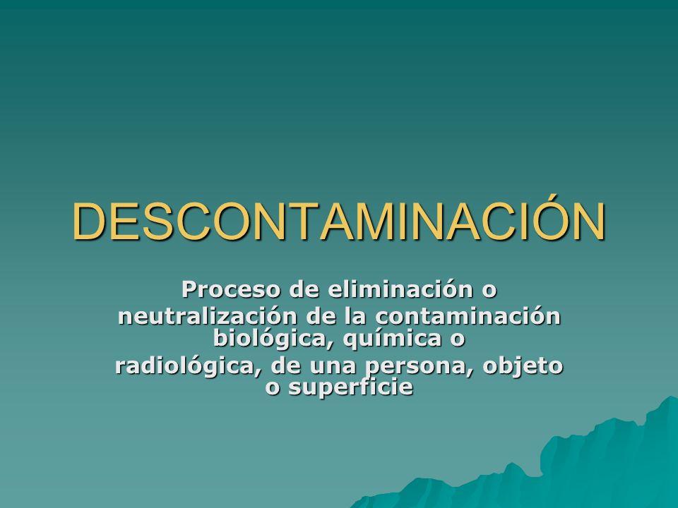 DESCONTAMINACIÓN Proceso de eliminación o neutralización de la contaminación biológica, química o radiológica, de una persona, objeto o superficie
