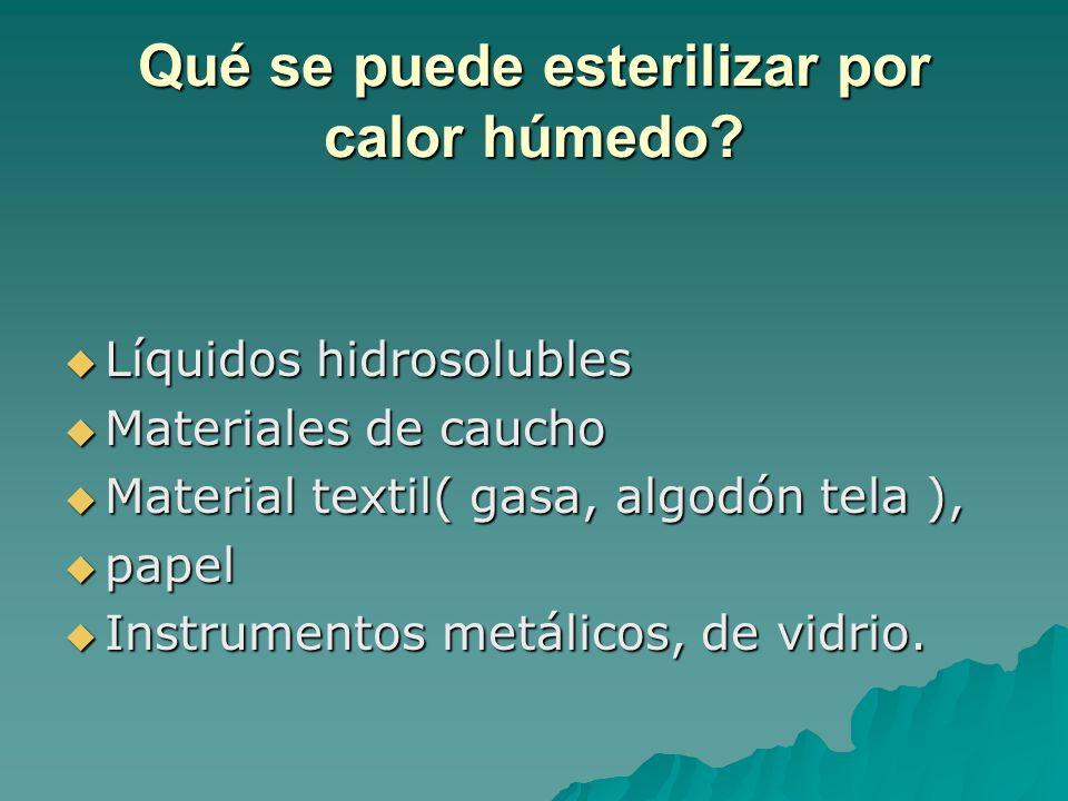Qué se puede esterilizar por calor húmedo? Líquidos hidrosolubles Líquidos hidrosolubles Materiales de caucho Materiales de caucho Material textil( ga
