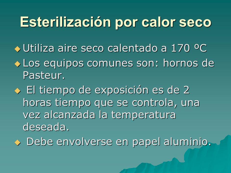 Esterilización por calor seco Utiliza aire seco calentado a 170 ºC Utiliza aire seco calentado a 170 ºC Los equipos comunes son: hornos de Pasteur. Lo