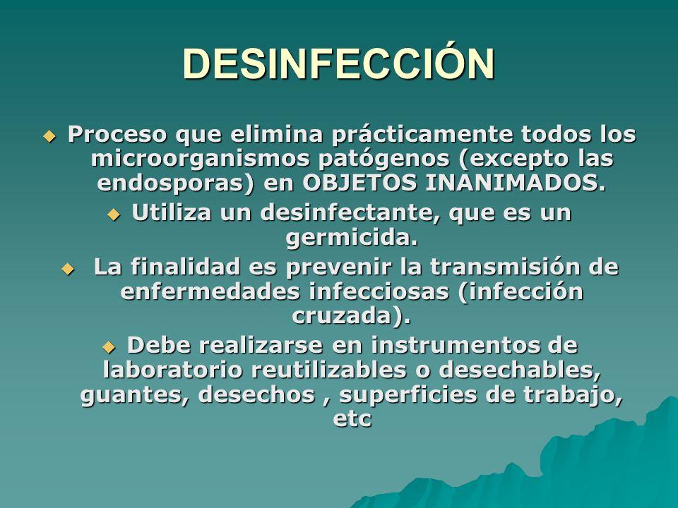 DESINFECCIÓN Proceso que elimina prácticamente todos los microorganismos patógenos (excepto las endosporas) en OBJETOS INANIMADOS. Proceso que elimina