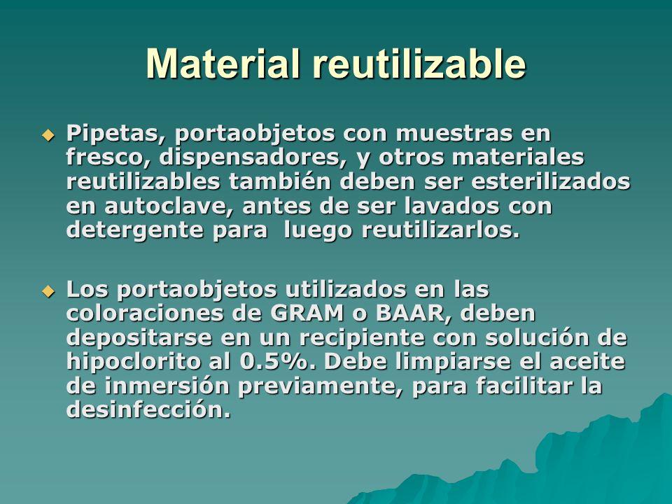 Material reutilizable Pipetas, portaobjetos con muestras en fresco, dispensadores, y otros materiales reutilizables también deben ser esterilizados en