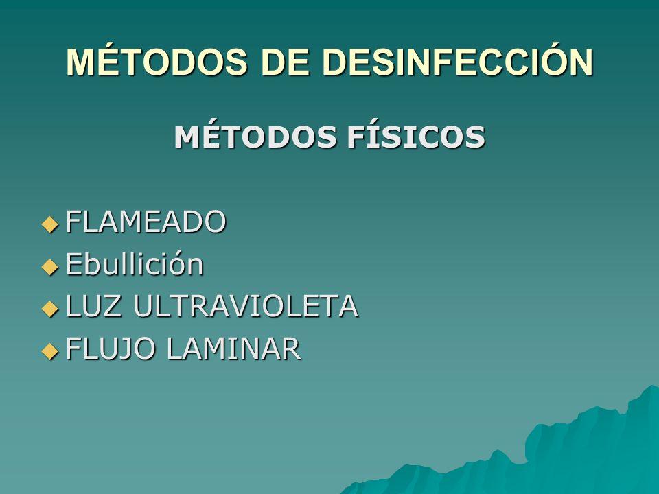 MÉTODOS DE DESINFECCIÓN MÉTODOS FÍSICOS FLAMEADO FLAMEADO Ebullición Ebullición LUZ ULTRAVIOLETA LUZ ULTRAVIOLETA FLUJO LAMINAR FLUJO LAMINAR