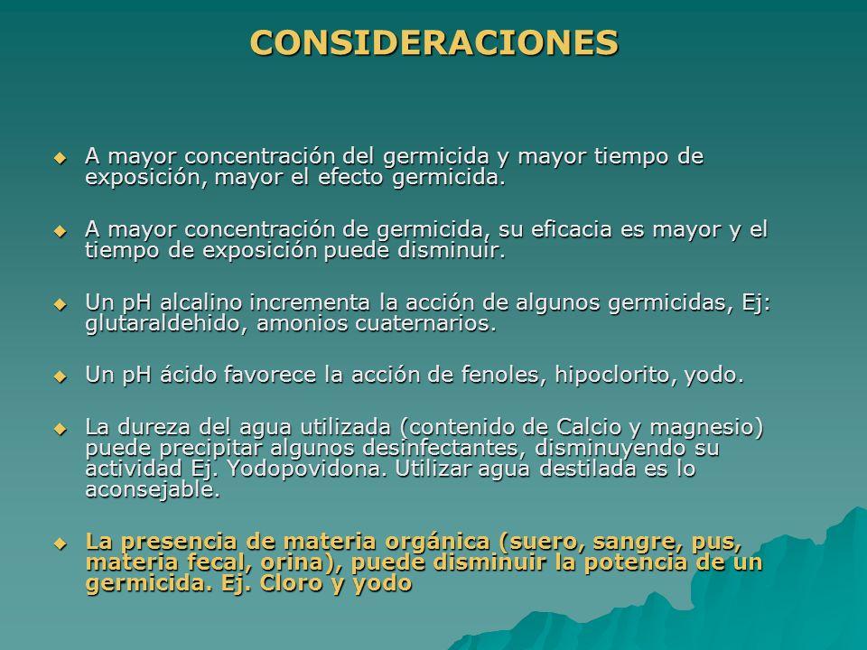 CONSIDERACIONES A mayor concentración del germicida y mayor tiempo de exposición, mayor el efecto germicida. A mayor concentración del germicida y may