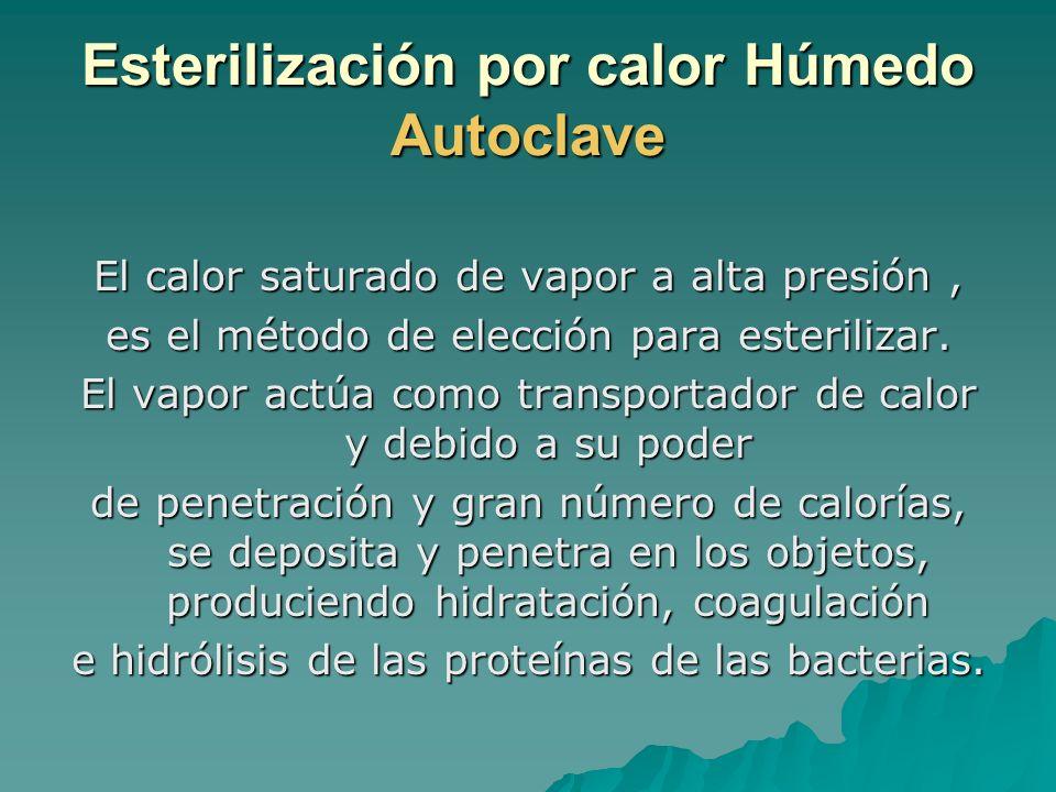 Esterilización por calor Húmedo Autoclave El calor saturado de vapor a alta presión, es el método de elección para esterilizar. El vapor actúa como tr