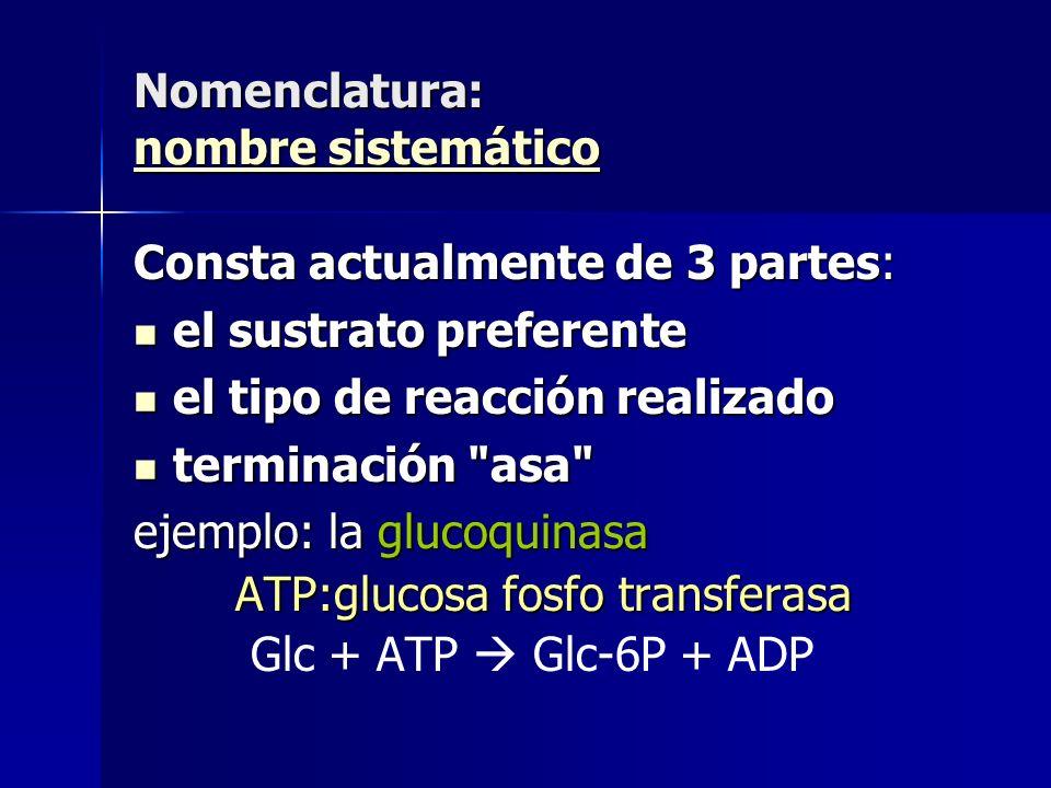 Nomenclatura: nombre sistemático nombre sistemático nombre sistemático Consta actualmente de 3 partes: el sustrato preferente el sustrato preferente e