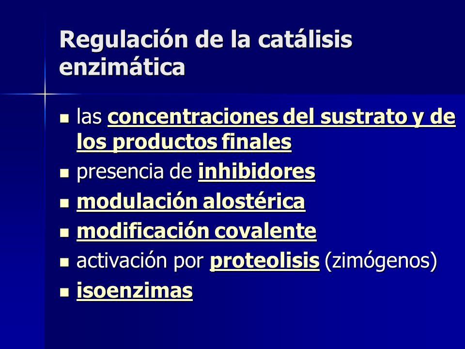 Regulación de la catálisis enzimática las concentraciones del sustrato y de los productos finales las concentraciones del sustrato y de los productos