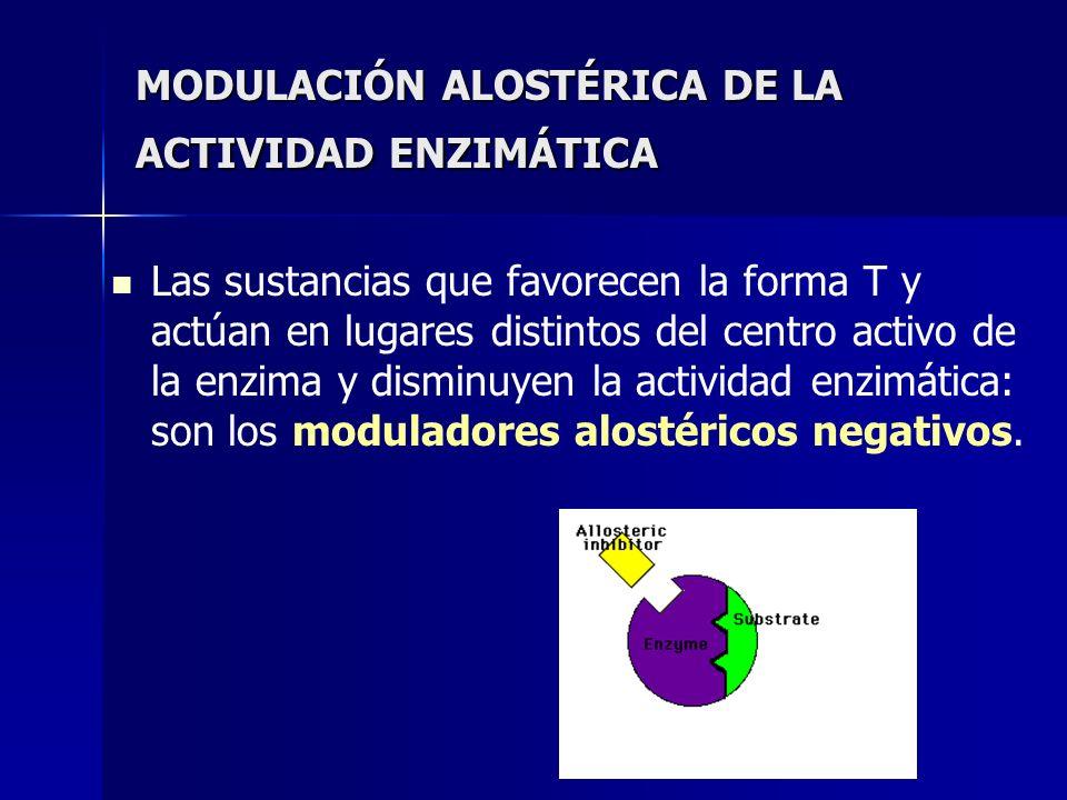 MODULACIÓN ALOSTÉRICA DE LA ACTIVIDAD ENZIMÁTICA Las sustancias que favorecen la forma T y actúan en lugares distintos del centro activo de la enzima