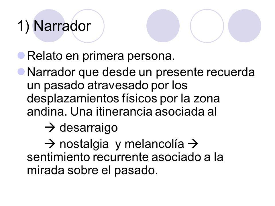 1) Narrador Relato en primera persona. Narrador que desde un presente recuerda un pasado atravesado por los desplazamientos físicos por la zona andina