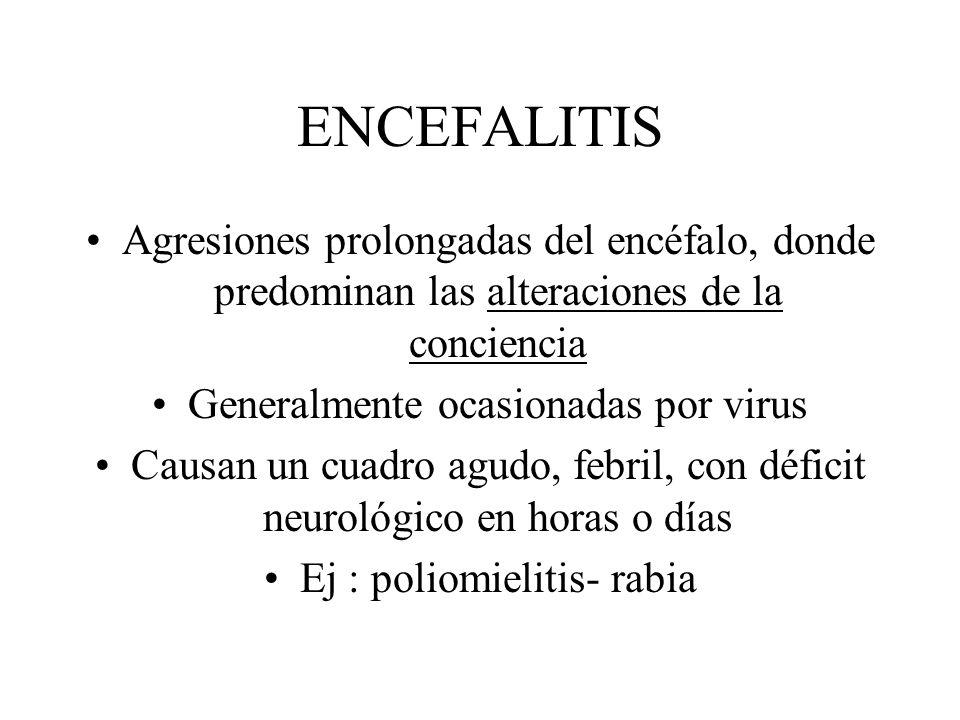 ENCEFALITIS Agresiones prolongadas del encéfalo, donde predominan las alteraciones de la conciencia Generalmente ocasionadas por virus Causan un cuadr