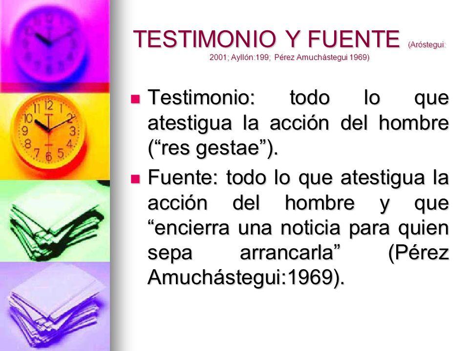 TESTIMONIO Y FUENTE (Aróstegui: 2001; Ayllón:199; Pérez Amuchástegui 1969) Testimonio: todo lo que atestigua la acción del hombre (res gestae). Testim