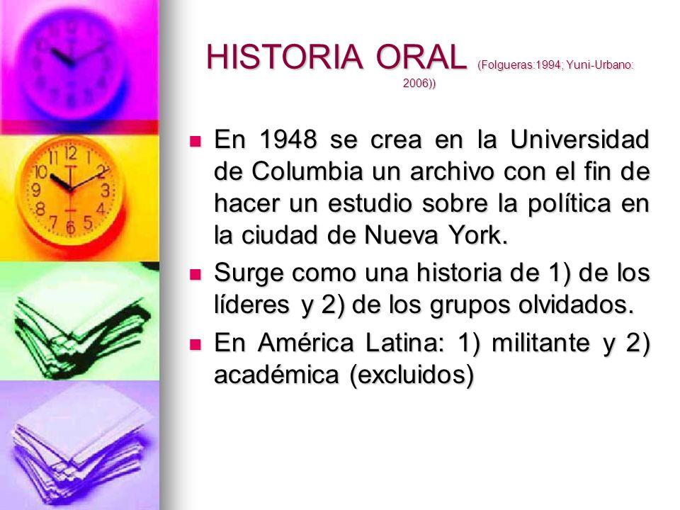 HISTORIA ORAL (Folgueras:1994; Yuni-Urbano: 2006)) En 1948 se crea en la Universidad de Columbia un archivo con el fin de hacer un estudio sobre la po