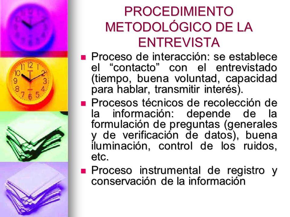 PROCEDIMIENTO METODOLÓGICO DE LA ENTREVISTA Proceso de interacción: se establece el contacto con el entrevistado (tiempo, buena voluntad, capacidad pa
