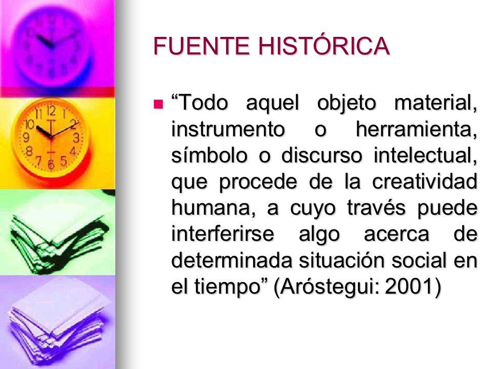 FUENTE HISTÓRICA Todo aquel objeto material, instrumento o herramienta, símbolo o discurso intelectual, que procede de la creatividad humana, a cuyo t