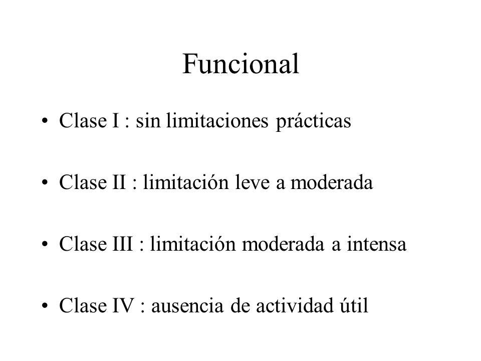 Funcional Clase I : sin limitaciones prácticas Clase II : limitación leve a moderada Clase III : limitación moderada a intensa Clase IV : ausencia de
