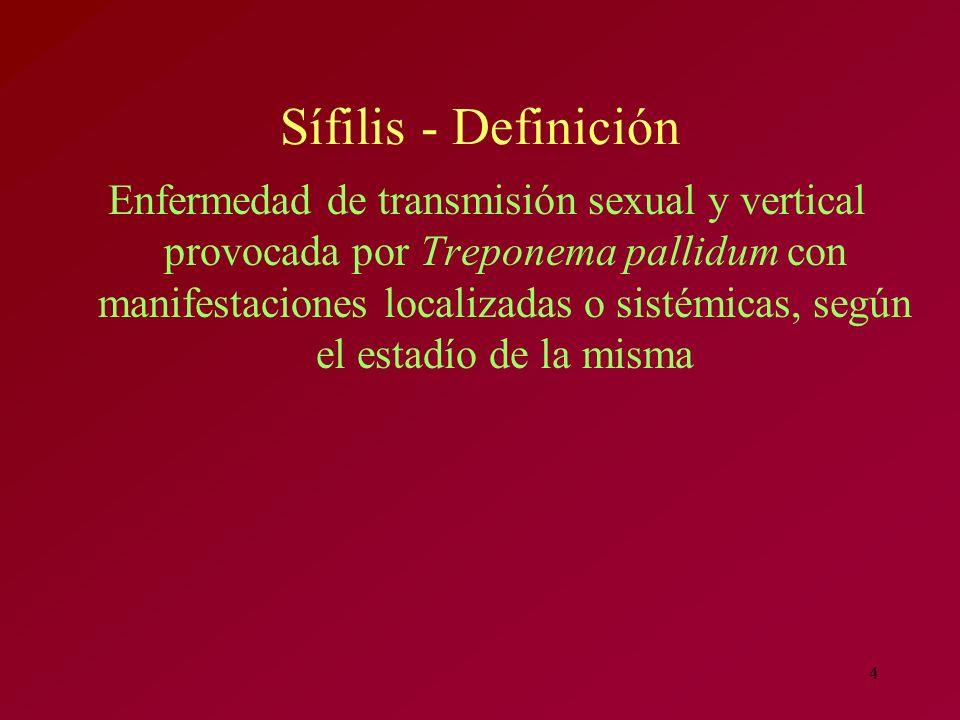 4 Sífilis - Definición Enfermedad de transmisión sexual y vertical provocada por Treponema pallidum con manifestaciones localizadas o sistémicas, segú