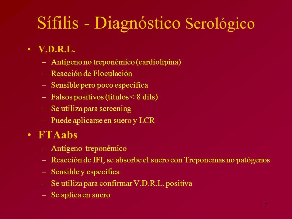 7 Sífilis - Diagnóstico Serológico V.D.R.L. –Antígeno no treponémico (cardiolipina) –Reacción de Floculación –Sensible pero poco específica –Falsos po