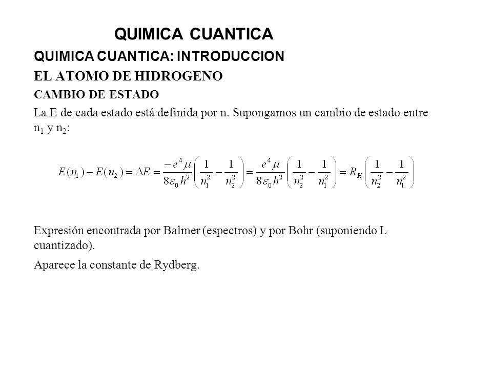 QUIMICA CUANTICA QUIMICA CUANTICA: INTRODUCCION EL ATOMO DE HIDROGENO CAMBIO DE ESTADO La E de cada estado está definida por n. Supongamos un cambio d