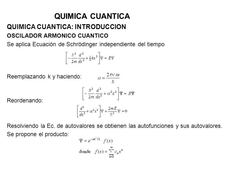 QUIMICA CUANTICA QUIMICA CUANTICA: INTRODUCCION OSCILADOR ARMONICO CUANTICO Se aplica Ecuación de Schrödinger independiente del tiempo Reemplazando k