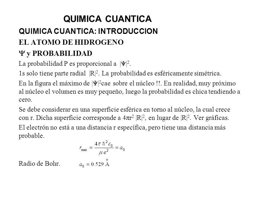 QUIMICA CUANTICA QUIMICA CUANTICA: INTRODUCCION EL ATOMO DE HIDROGENO y PROBABILIDAD La probabilidad P es proporcional a     2. 1s solo tiene parte ra