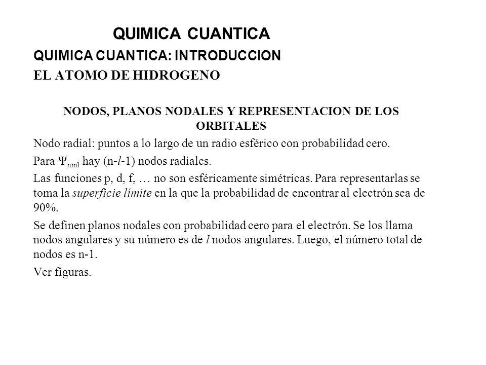 QUIMICA CUANTICA QUIMICA CUANTICA: INTRODUCCION EL ATOMO DE HIDROGENO NODOS, PLANOS NODALES Y REPRESENTACION DE LOS ORBITALES Nodo radial: puntos a lo