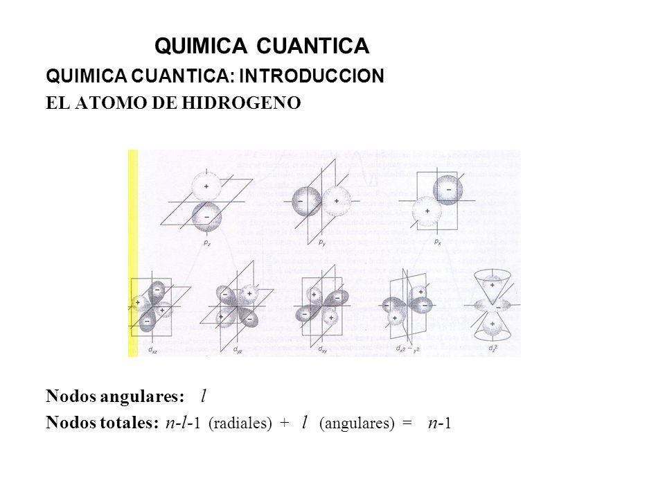 QUIMICA CUANTICA QUIMICA CUANTICA: INTRODUCCION EL ATOMO DE HIDROGENO Nodos angulares: l Nodos totales: n-l- 1 (radiales) + l (angulares) = n- 1