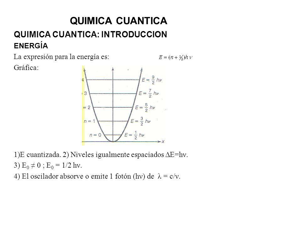 QUIMICA CUANTICA QUIMICA CUANTICA: INTRODUCCION ENERGÍA La expresión para la energía es: Gráfica: 1)E cuantizada. 2) Niveles igualmente espaciados ΔE=