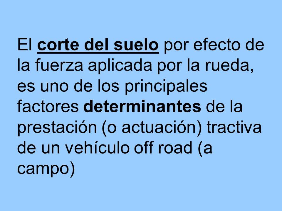 El corte del suelo por efecto de la fuerza aplicada por la rueda, es uno de los principales factores determinantes de la prestación (o actuación) trac