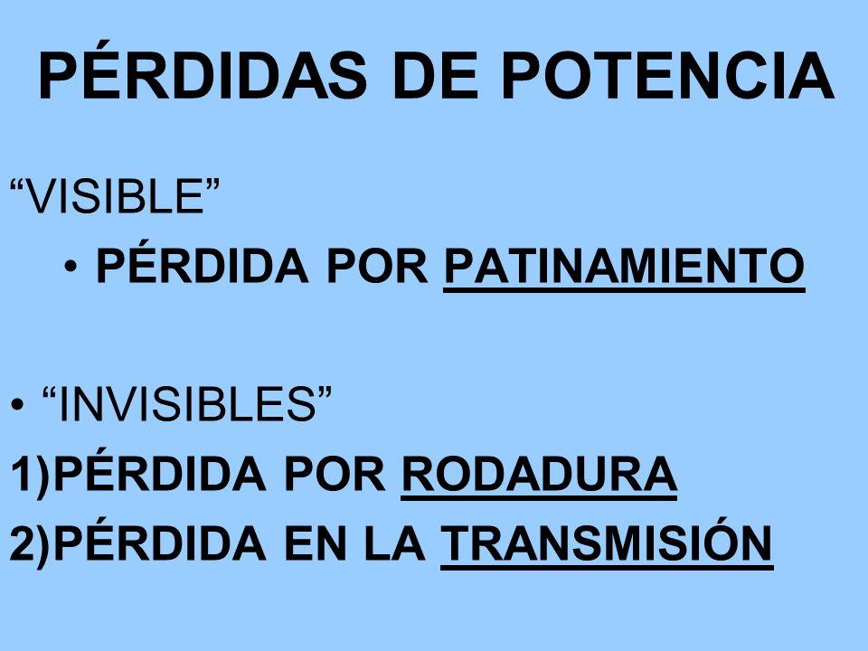 PÉRDIDAS DE POTENCIA VISIBLE PÉRDIDA POR PATINAMIENTO INVISIBLES 1)PÉRDIDA POR RODADURA 2)PÉRDIDA EN LA TRANSMISIÓN