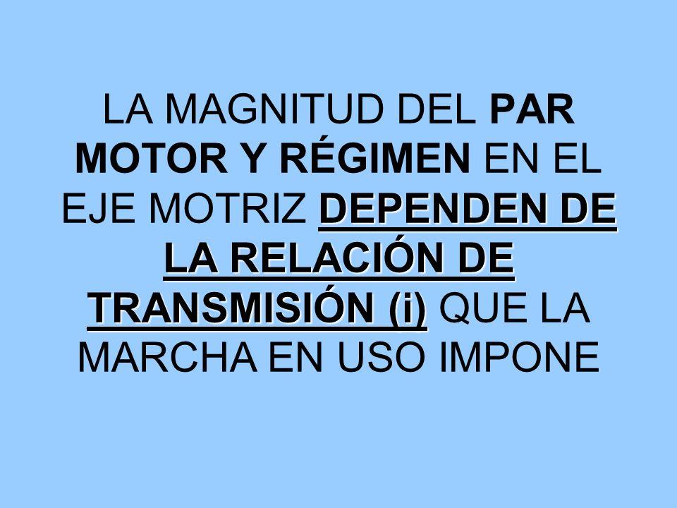 DEPENDEN DE LA RELACIÓN DE TRANSMISIÓN (i) LA MAGNITUD DEL PAR MOTOR Y RÉGIMEN EN EL EJE MOTRIZ DEPENDEN DE LA RELACIÓN DE TRANSMISIÓN (i) QUE LA MARC