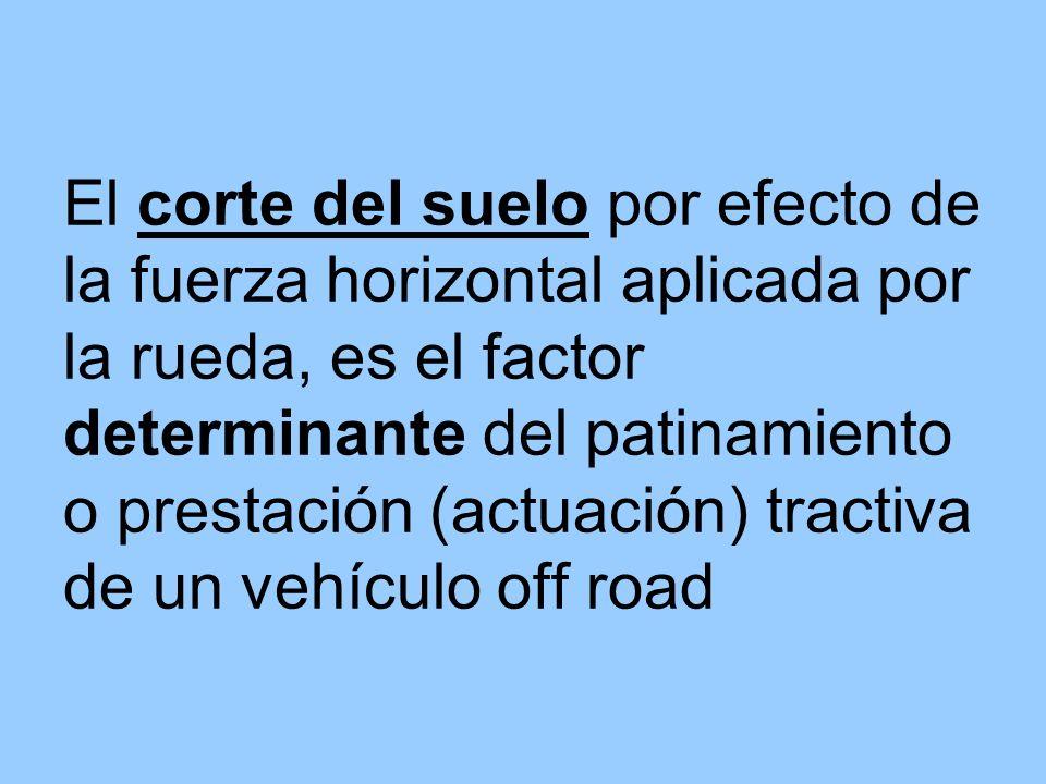 El corte del suelo por efecto de la fuerza horizontal aplicada por la rueda, es el factor determinante del patinamiento o prestación (actuación) tract